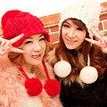 Hermosas Mujeres de Invierno Gruesa Caliente Del Manguito Del Oído Hecho A Mano de Punto Sombrero de la Gorrita Tejida
