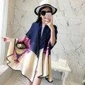 Nuevo Diseño Más El Tamaño de Las Mujeres de la Bufanda de Seda Mantón de Sun-prueba 15 Remiendo de Los Colores de Señora de Lujo Del Abrigo Bufandas Echarpe SC2836
