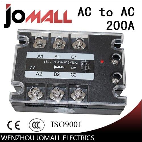 200A AC control AC SSR three phase Solid state relay 10a dc control ac ssr three phase solid state relay