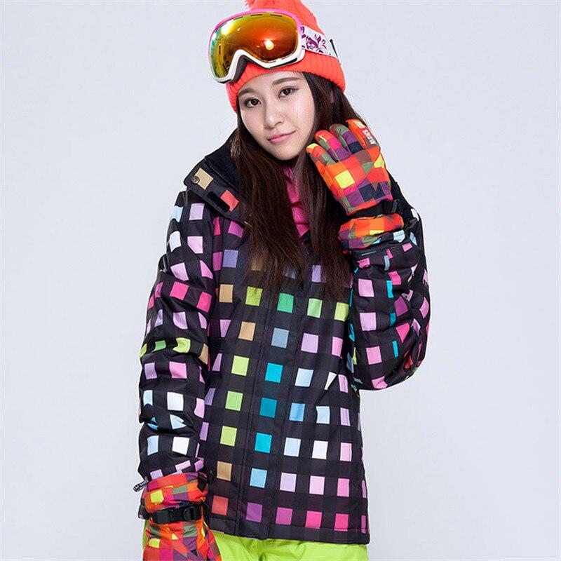 Nouveau Double plaque Snowboard vêtements dames style coréen nouveau imperméable coupe-vent Plaid ski costume super épais chaud veste de ski - 2