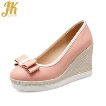 J&K 2017 Big Size 33-43 High Heels Pumps Butterfly-knot Platform Women Shoes Fashion Ladies Shoes Woman Shallow Female Shoes