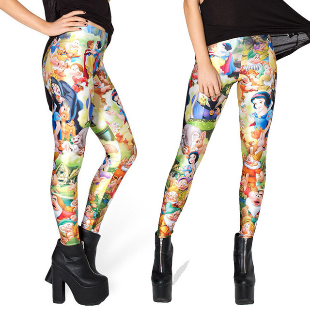 2820f42cdb904 Free size 3303 Fashion Women Black milk Snow White princess prints elastic  bodybuilding sexy Girl Leggings Pants