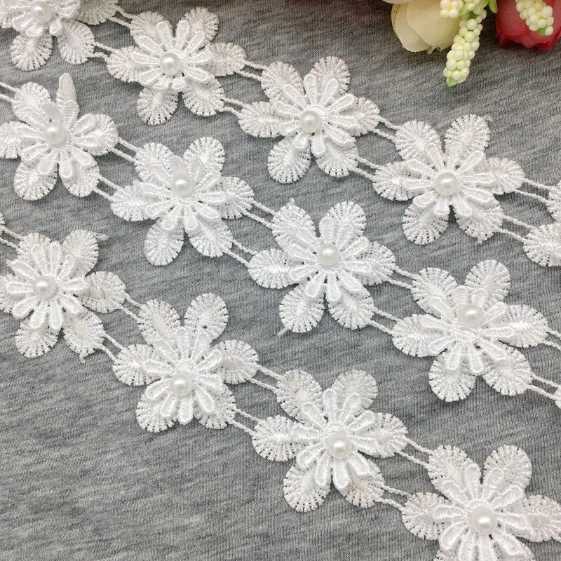 1 Yard 2-Layer Vintage White Snowflake Pearl Lace Edge Trim Fabric Ribbon Applique Sewing Patch Craft DIY Headband Wedding Dress