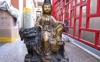 Китай Народная Фейн Винтаж Бронзовый Gild Кван Юн Бодхисаттва ездить на Foo Dog Лев