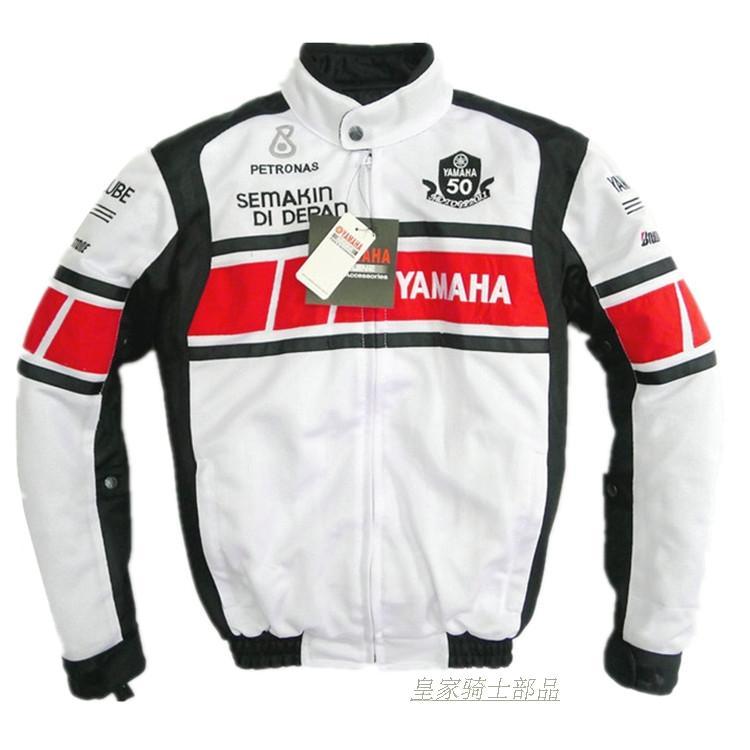 Veste blanche de l'équipe de course de MOTOGP d'été 2018 pour le revêtement en coton amovible de moto YAMAHA