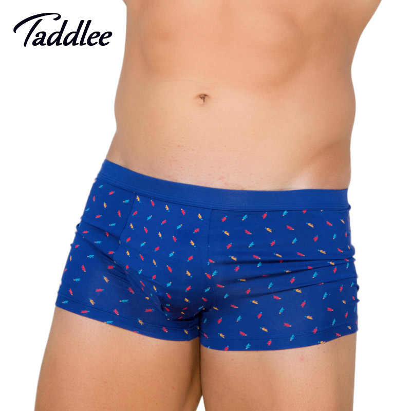 Taddlee Marca 2017 New Mens Underwear Sexy Boxer Shorts Trunks Boxers Modal Suave Impressão Clássico Básico Penis Pouch Wonderjock