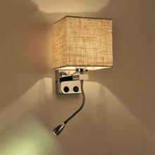 Paño de tela creativa moderna llevó las luces de pared lámpara de la escalera del hotel salón dormitorio pasillo de noche iluminación swtich