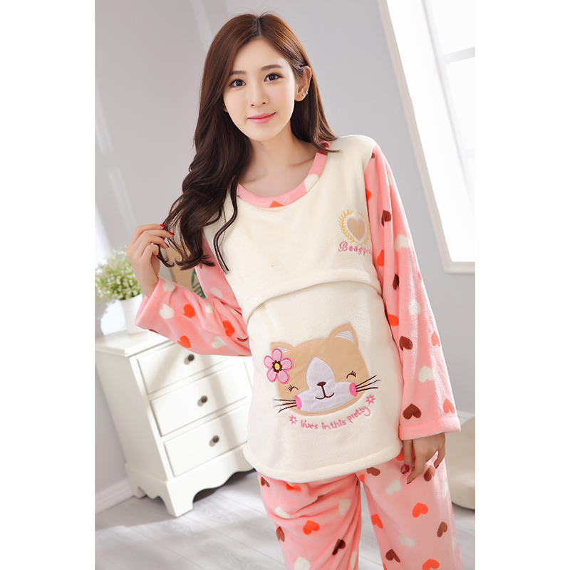 ef805bef31a Long Sleeve Winter Cute Animal Cartoon Thickening Flannel Breast ...