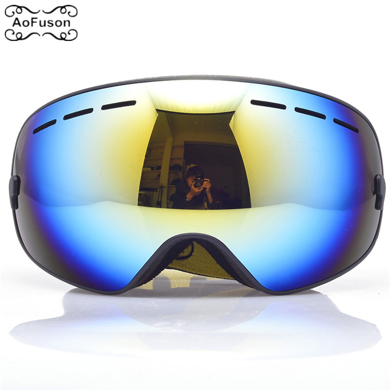 Ski Snowboard Goggles Single Layer Anti-fog UV400 Big Spherical Glasses Men Women Skiing Snowmobile Mask Snow Goggles With Box new 2018 uv400 anti fog ski goggles snowboard glasses ski snowmobile goggles snow ski mask sports goggles men skiing eyewear