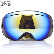 Ski Snowboard Goggles Single Layer Anti-fog UV400 Big Spherical Glasses Men Women Skiing Snowmobile Mask Snow Goggles With Box
