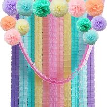 24Pcs/Set Four Leaf Tissue Paper Garland with Pom Poms Flowers Streamer Backdrop for Birthday Party Decorations