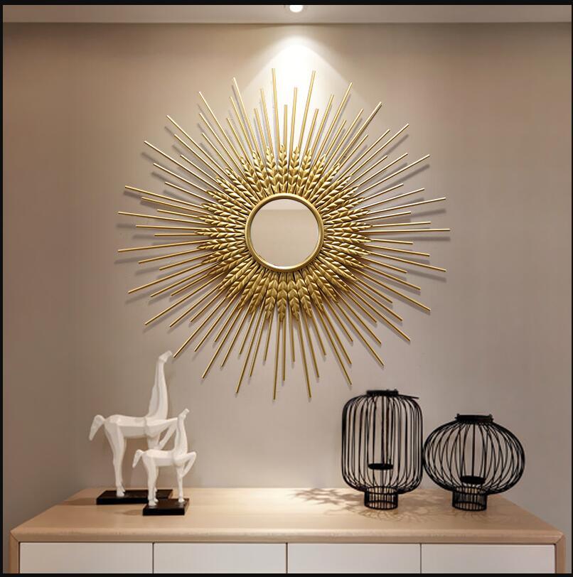 Luxe en fer forgé 3D décoratif miroir tenture murale artisanat décoration Restaurant fond porche mur autocollant Mural ornements