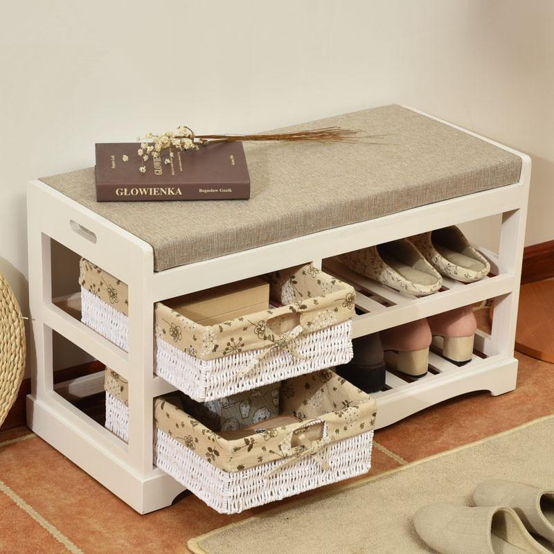 Estante del zapato de madera banco de almacenamiento for Gabinete de zapatos para la entrada