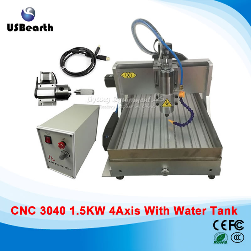 1500W Deskop CNC Engraving machine, engrave metal, 4 axis USB cnc router machine with water tank, no tax to EU country metal engraving machine 3040 engraver 800w cnc machine to eu country free tax