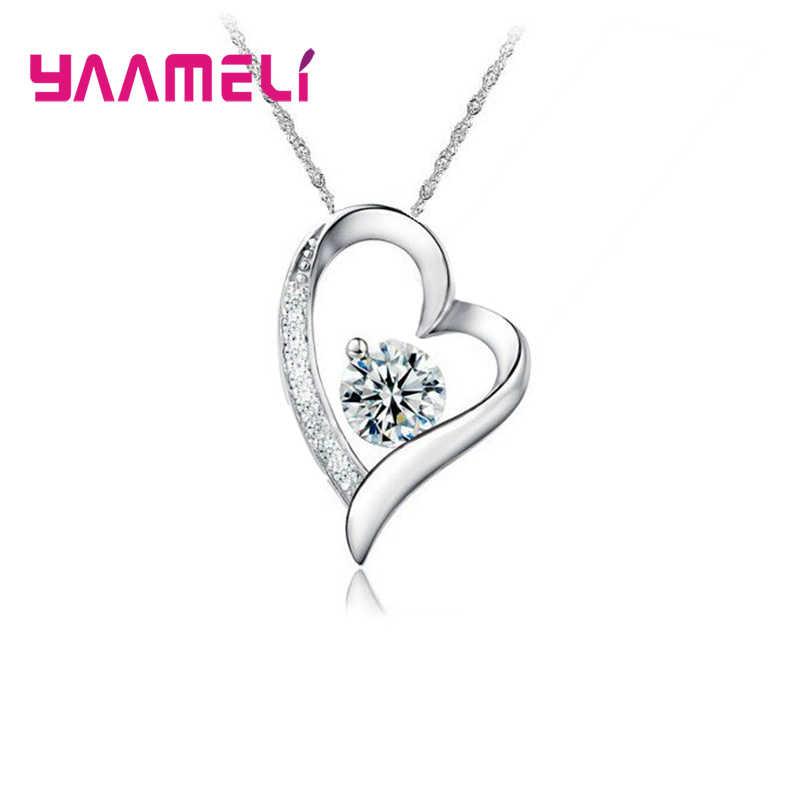 Promotion Price Classic Elegant Heart Shape Pendant Necklace  925 Sterling Silver Jewelry For Women Chiny Cubic Zirconia