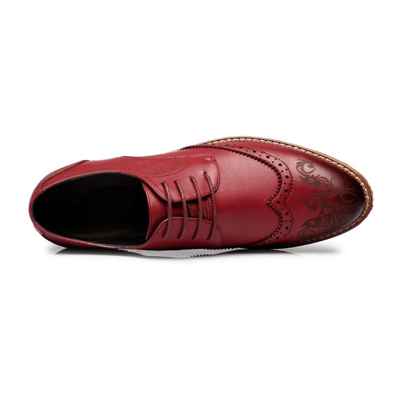 Dedo Brogues red Black Homens brown Pé Pequeno Britânico Sapatos Do Padrão Popular Qulaity Moda Top Up Apontado De Couro Esculpida Pu Lace qwHXTxRa