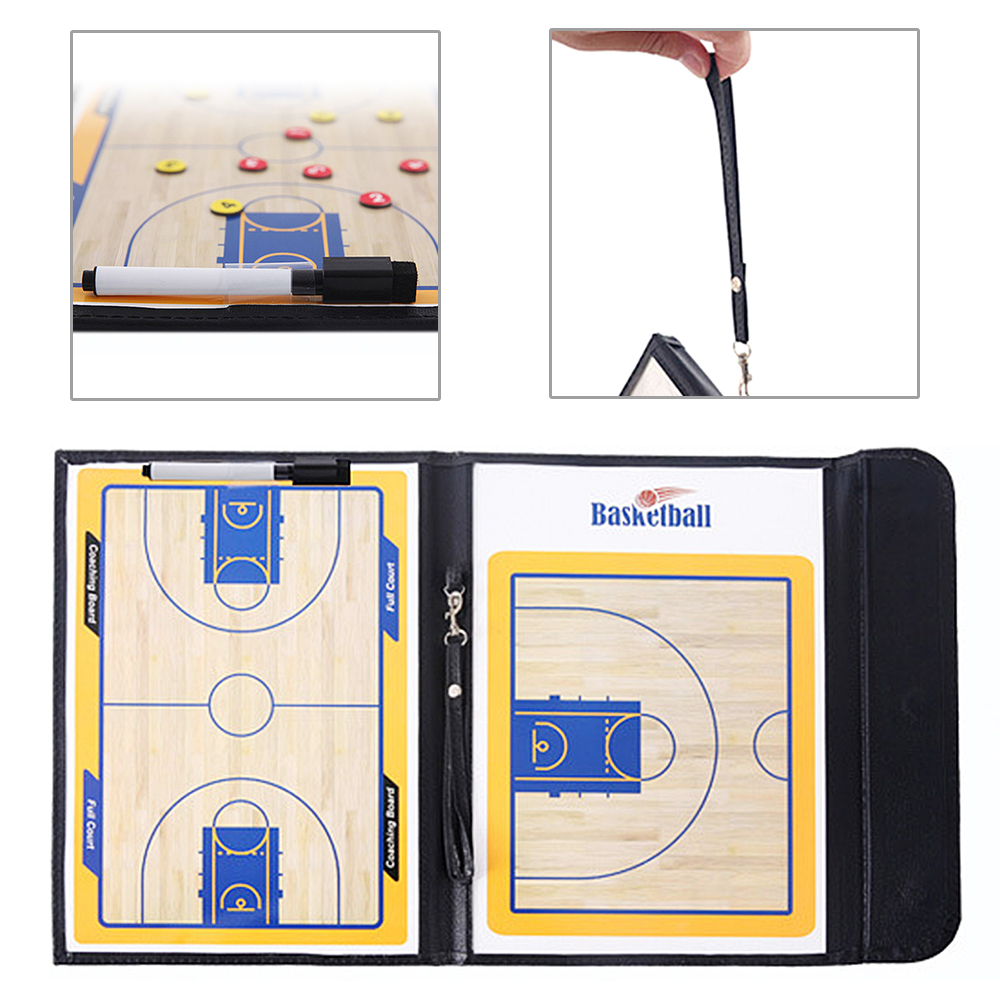 Foldable Basketball Magnetic Tactic Tactic Board With Marker Pen Portable Coaching Strategy Board  Tool