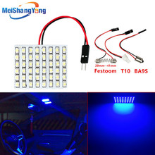 48 blue/White/Warm White SMD amber led panel T10 BA9S Festoon Dome Car Interior lamp C5W W5W T4W bulbs parking Light source