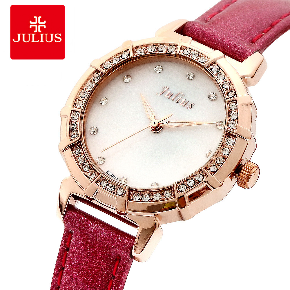 2018 Julius Watch Luxury Crystal Gold Watches Fashion Brand Women Leather Wrist Watch Nickle Free IP Plating Watch Small Dial D1