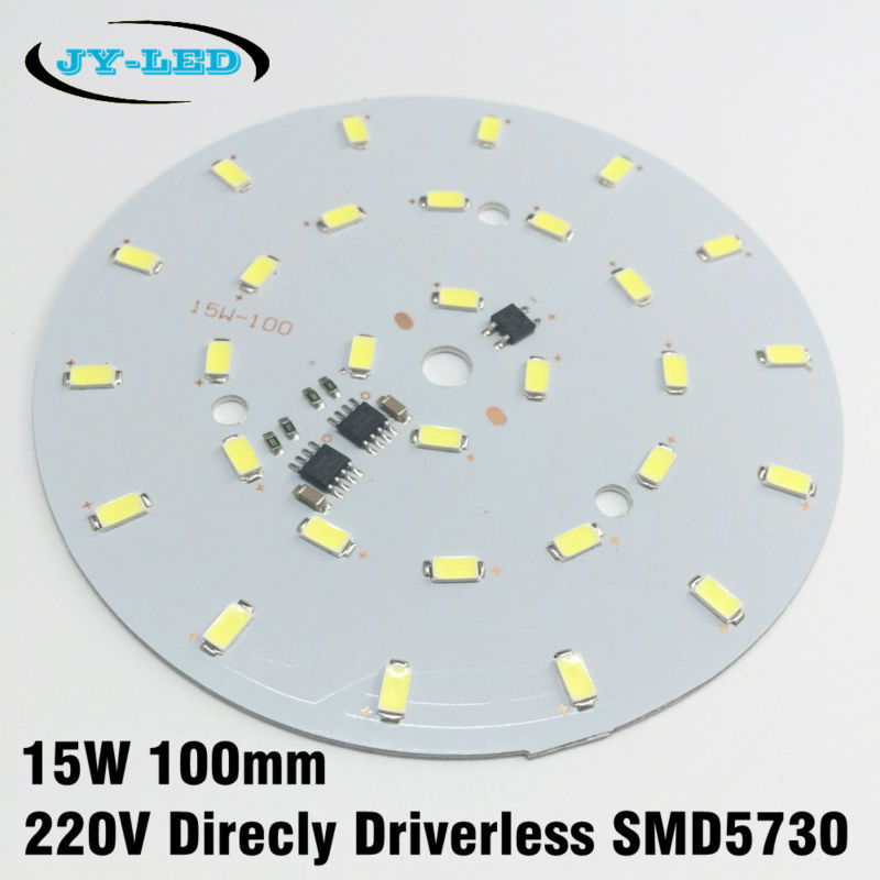 15W LED PCB 100mm Diameter SMD 5730 Dimmable Panel AC 220v Directly integrated ic Driver Aluminum Base Plate 40w smd 5730 5630 led pcb with smd5730 installed and ic driver aluminum plate free shipping
