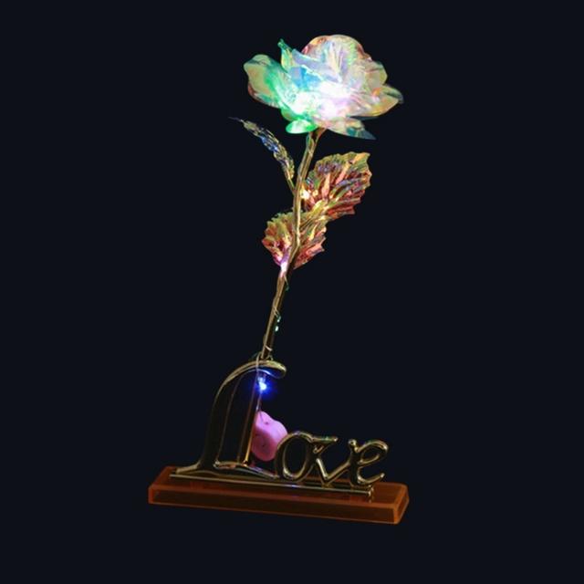 Drop wysyłka Walentynki twórczy prezent 24K folia platerowana Róża złota róża trwa Forever Love ślub Decor Lover oświetlenie Róża tanie i dobre opinie Prezent na Walentynki Bukiet kwiatów Rose Metal FANG JANE