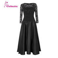 Short Navy Elegant Mother Of The Bride Lace Dresses 2017 With Sleeves Tea Length Dresses For