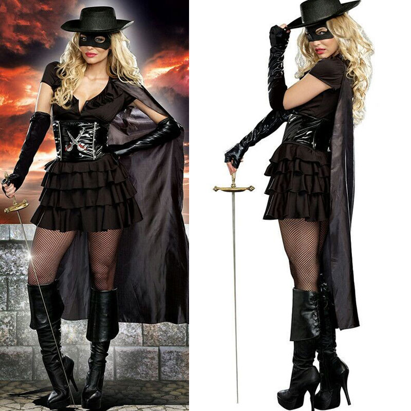 Free Shipping Black Halloween Fancy Costume Magician Outfit