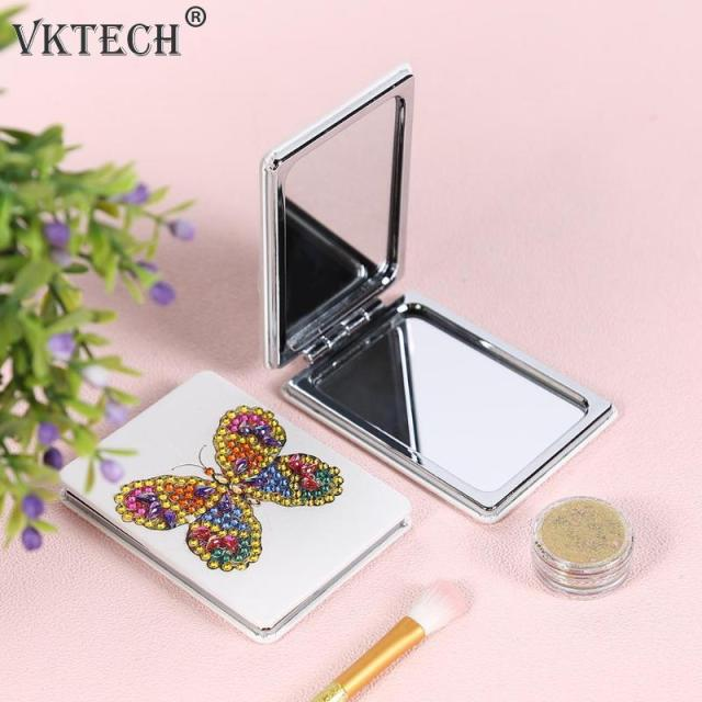 Butterfly/Heart DIY Special Shaped Diamond Painting Mirror Women Girl Ultra-thin Mini Makeup Mirror Embroidery Cross Stitch Kit 4