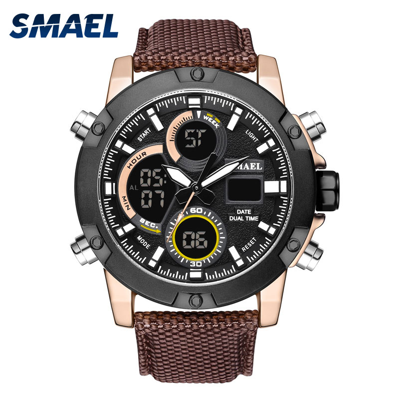 Analog Digital Men Sport Watches Waterproof relogio Alarm Alloy Clocks Men Watches Big Dial 1325 LED Quatz Wristwatches Bracelet