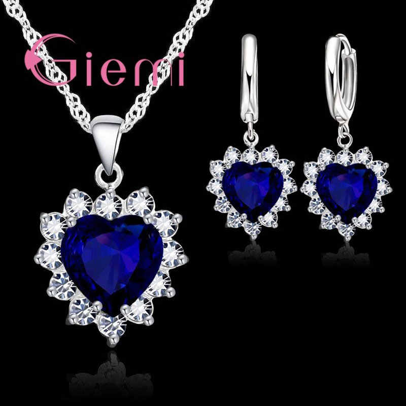 True Love 925 Sterling Silver Jewelry Sets For Wedding Women Cubic Zirconia Pendant Necklace Earrings Set Valentine's Gift