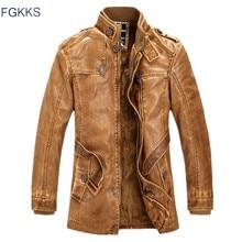 FGKKS zimowe męskie skórzane zamszowa kurtka moda jakość marki podszyty polarem motocyklowe płaszcze ze sztucznej skóry męskie skórzane kurtki
