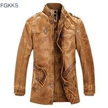 FGKKS חורף גברים עור זמש מעיל אופנה מותג איכות צמר מרופד אופנוע פו עור זכר עור מעילים