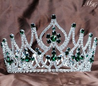 4.25 Large Gorgeous Simulated Emerald Tiara Full Round Crowns Rhinestones Crystal Brides Diadem Pageant Party Prom Hair Jewelry