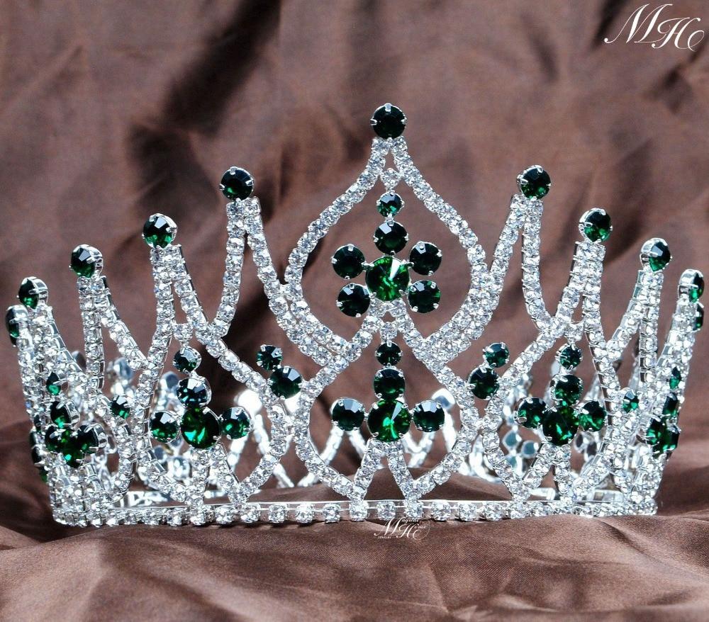 Crowns full circle round tiaras rhinestones crystal wedding bridal - Gorgeous Simulated Emerald Tiara Full Round Crowns Rhinestones Crystal Brides Headband Pageant Party Prom Fashion Hair