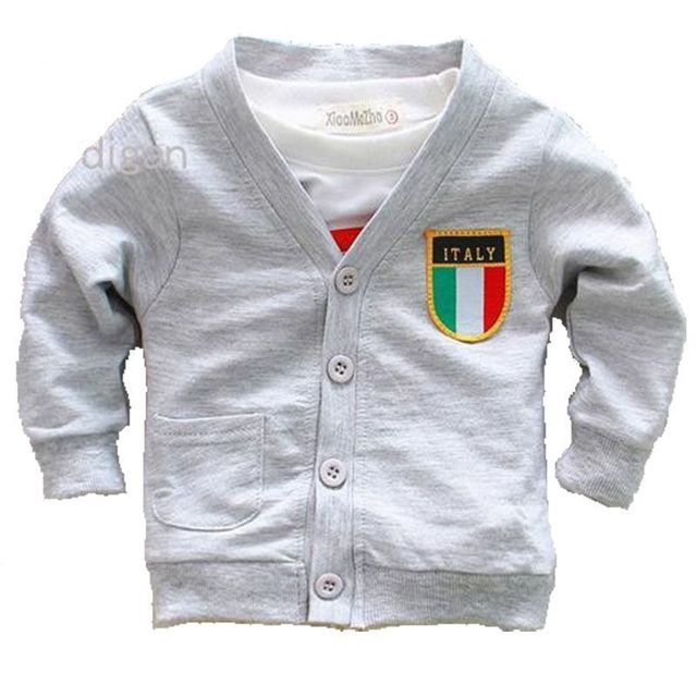2017 spring autumn Infant cardigan 1 2 3 baby kids coat air conditioning long-sleeved shirt three-color flag jacket 80-90cm