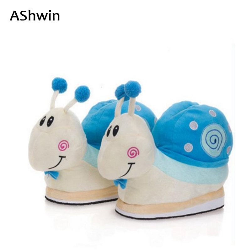 AShwin warm winter slippers new snail cartoon home slipper cottom thermal shoes floor slipper pregnant shoes unicorn slipper slipper