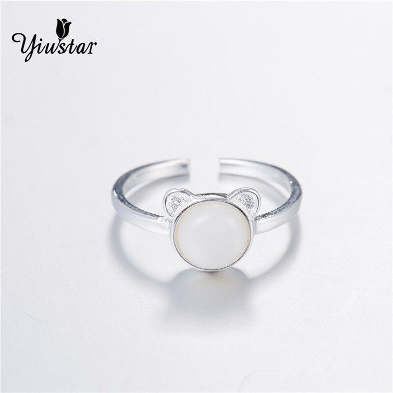yiustar White Stone Cat Ring Matte Kitten Cat Wrap Ring Animal Finger Ring For Young Girl Women Adjustable Engagement Ring