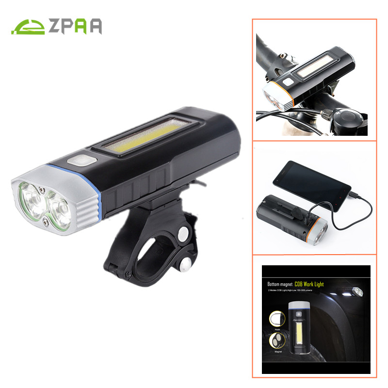 ZPAA Super Bright Bicycle LED Front Light + COB Repair Lamp USB Charging 5 Modes Cycling Bike Waterproof LED Flashlight Torch the new super bright led built dimmable downlight cob 3w 5w mr16 gu10 led spot light led decoration ceiling lamp ac220 led lamp
