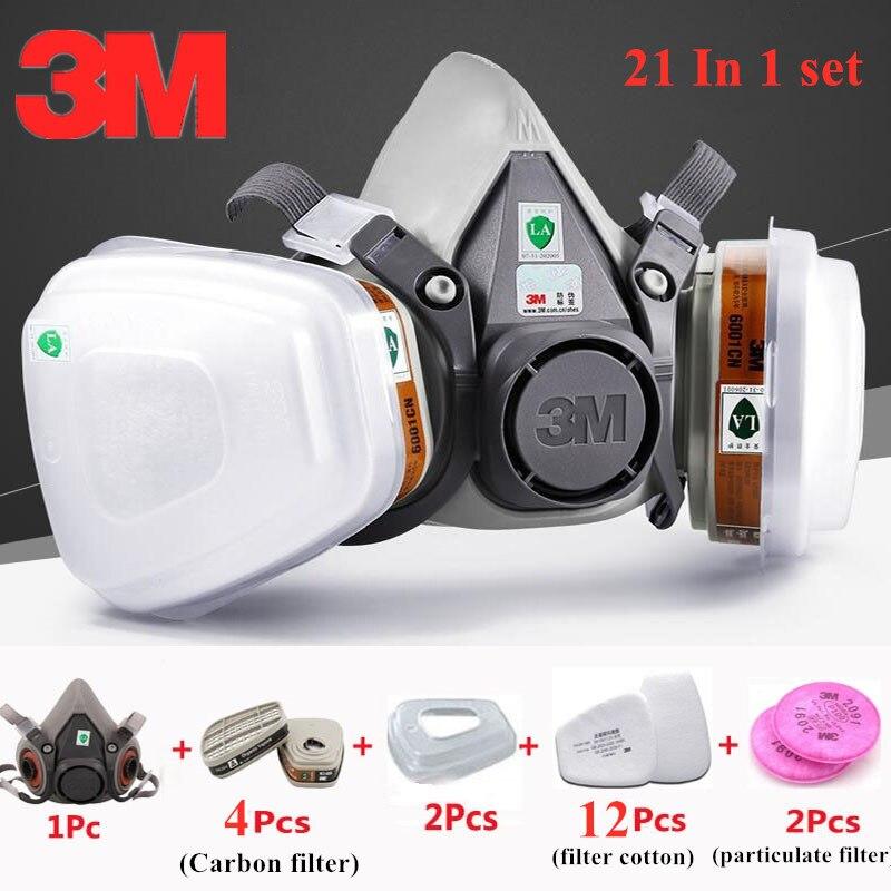 21 en 1 3 M 6200 masque à gaz vapeur organique peinture en aérosol 6001 Double bidons filtres à particules protecteurs Pesticide poussière brume masque