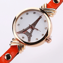 2016 New Arrival Women's Eiffel Tower Printed Multi-layer Alloy Faux Leather Strap Wrist Watch 81WG166