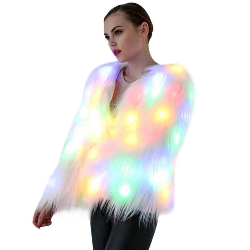6XL Women Faux Fur LED Light Coat Christmas Costumes Cosplay Jacket Festival Winter Warm Party Club