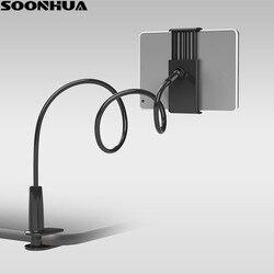 Soporte de teléfono SOONHUA 360 giratorio Flexible brazo largo abrazadera del soporte del teléfono cama Tablet coche soporte de montaje para selfie para teléfono 4-10
