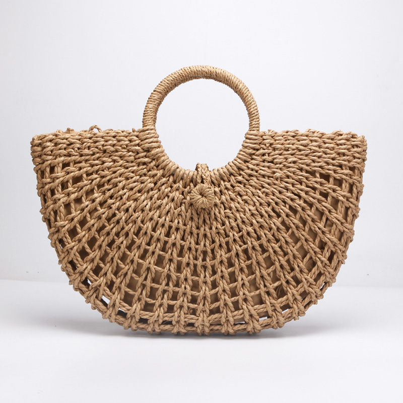 New straw bag paper rope round bucket hollow woven bag retro casual belt buckle hand bag behrens 412w 12 qt combination round mop bucket with wringer