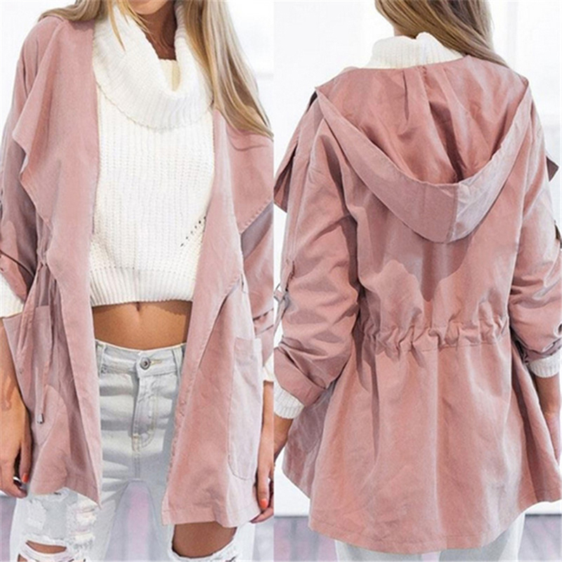 Women Casual Hooded Windbreaker Coat Turndown Collar Overcoat Outerwear Coat Solid Color   Trench   Belt Slim Tops Coat