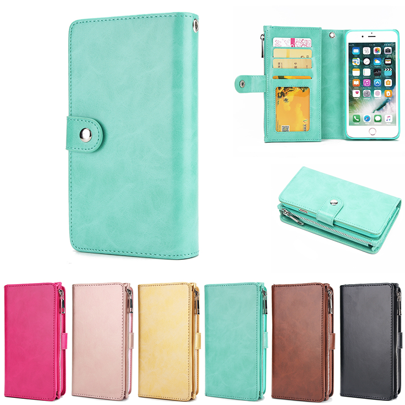 XINGDUO for iphone 6 case card holder stand Coin zip TPU case pu Leather wallet Detachable phone case for iphone X 7 8 6s Plus