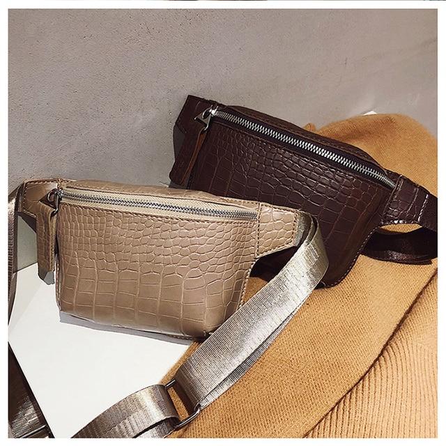 e904a00806807 Vintage Waist Bag Women Alligator PU Leather Belt Bag Waist Pack Travel Belt  Wallets Fanny Bags