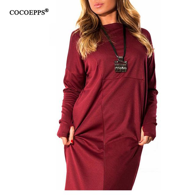Mujeres moda casual gran tamaño 6xl 5xl más tamaño solid dress otoño invierno de manga larga hasta la rodilla floja vestidos party dress