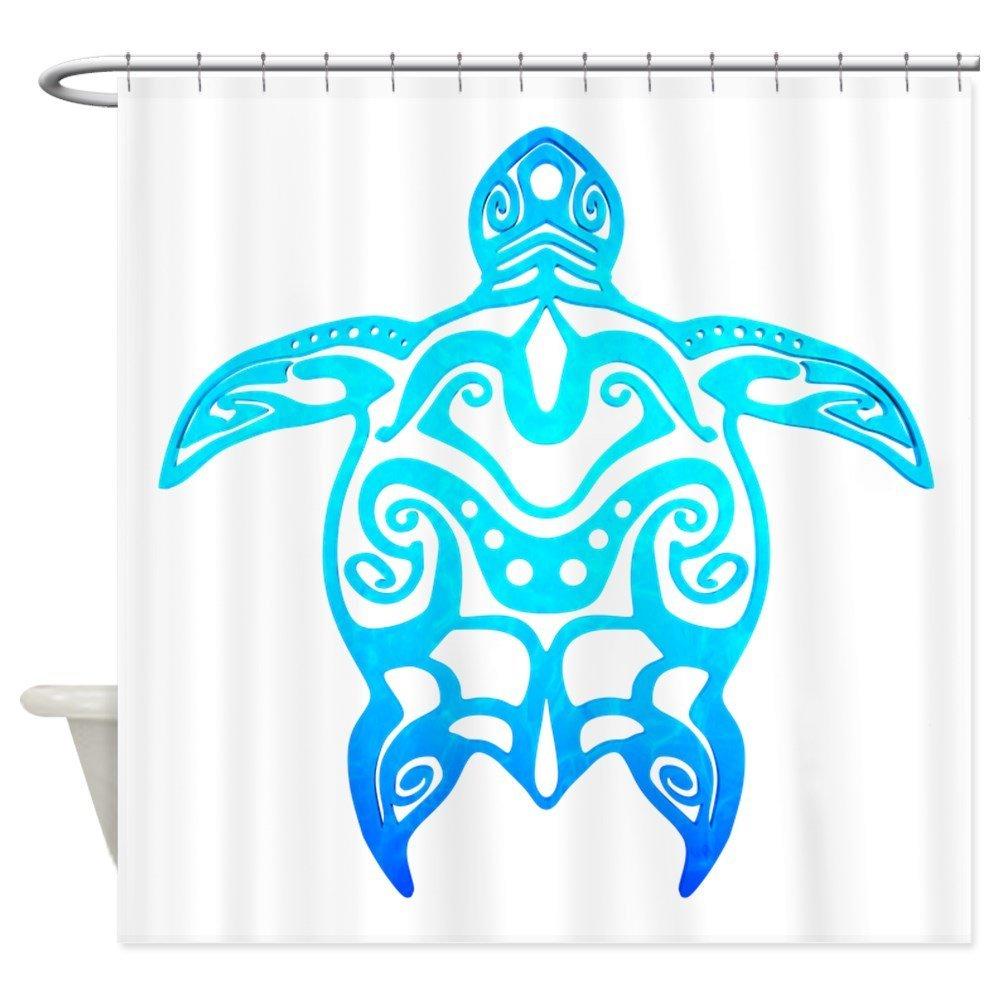 Ocean Blue Tribal Turtle Shower Curtain Decorative Fabric Shower Curtain