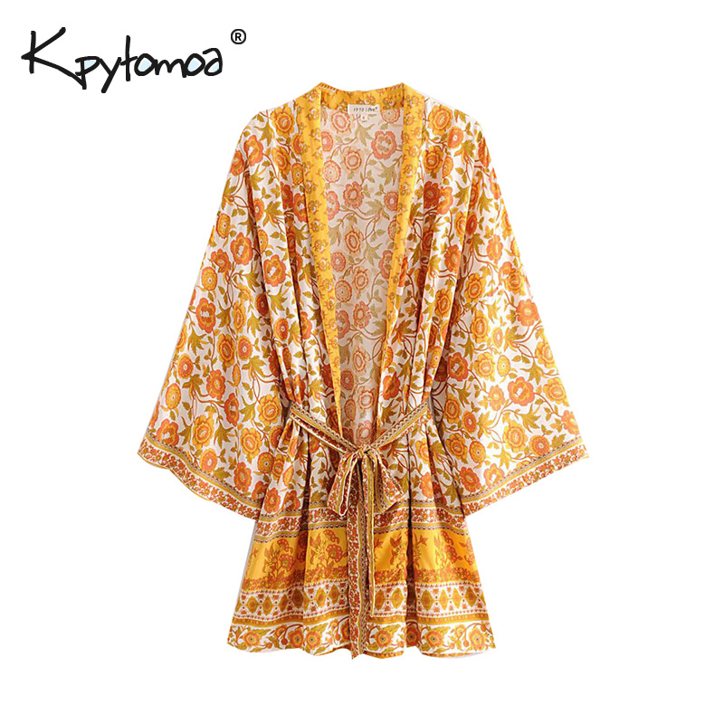 Boho Chic Summer Vintage Floral Print Sashes Kimono Women 2019 Fashion Cardigan V Neck Beach Loose   Blouses     Shirts   Femme Blusas