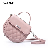 Fashion Brand Cow Split Leather Handbag Messenger Bag Women Shoulder Bag Circle Sweet Bags Girls Small